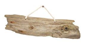 De geïsoleerde raad van het Drijfhout houten teken op koord royalty-vrije stock foto