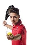 De geïsoleerde speler van het peddeltennis Stock Foto