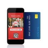 De geïsoleerde telefoon begaat online aankoop met creditcard Royalty-vrije Stock Afbeeldingen