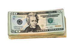 De geïsoleerde V.S. de stapel van de twintig dollarrekening Royalty-vrije Stock Afbeeldingen
