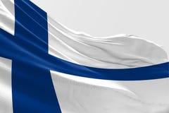 De geïsoleerde Vlag die van Finland, 3D Realistische Teruggegeven Vlag van Finland golven Vector Illustratie