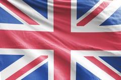 De geïsoleerde Vlag die van het Verenigd Koninkrijk 3d Realistische stof van het Verenigd Koninkrijk golven Royalty-vrije Stock Afbeelding