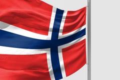 De geïsoleerde Vlag die van Noorwegen 3d Realistische stof golven vector illustratie