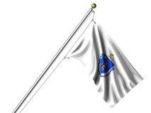 De geïsoleerde. Vlag van Massachusetts Stock Afbeeldingen