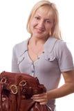 De geïsoleerde vrouw van de blonde met handtas. #2 Stock Foto