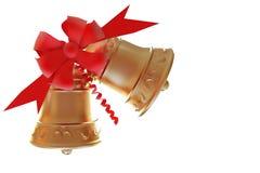 De geïsoleerdea Klokken van Kerstmis met het knippen van weg Royalty-vrije Stock Foto's