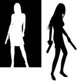 De geïsoleerdee meisjes met kanon silhouetteren Royalty-vrije Stock Afbeelding