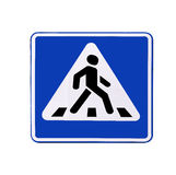 De geïsoleerdee Voetganger van verkeersteken (Gestreepte kruising)   Stock Foto's