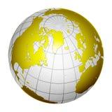 De geïsoleerden 3D Aarde van de Bol van de Planeet Stock Fotografie