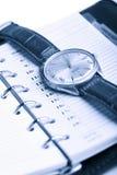 De geïsoleerdeo organisator en het horloge van het leer Stock Fotografie