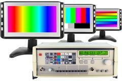 De geïsoleerdev test van moderne monitors Stock Foto's