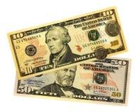 De geïsoleerdew dollars van Verenigde Staten Stock Foto