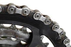 De geïsoleerdew ketting en de toestellen van de fiets Royalty-vrije Stock Afbeelding