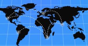De geanimeerde Reis en de Zakenreis Infographic op Zwarte Aardekaart 4k gaven Illustratie terug Royalty-vrije Stock Fotografie
