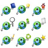 De geassorteerde Aarde Smileys 2 van het Beeldverhaal Stock Afbeeldingen