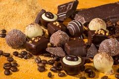 De geassorteerde pralines van de Chocoladetruffel Stock Foto's