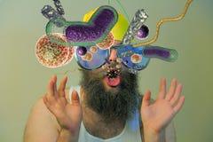 De gebaarde Bacteriën van de Mensenmond Stock Afbeelding