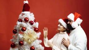 De gebaarde man die een rode hoed dragen omhelst een vrouw die een Kerstboom versiert Het mooie paar verfraait een Kerstboom stock video