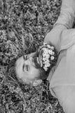 De gebaarde mens met madeliefjebloemen legt op grassplot, grasachtergrond Hipster met boeket van madeliefjes in baard het ontspan royalty-vrije stock afbeelding