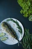 De gebakken die makreel diende op een plaat, met kruiden, kruiden en groenten wordt verfraaid Juiste voeding Mening van hierboven stock foto's