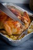 De gebakken folie van het kippenkarkas Royalty-vrije Stock Afbeeldingen