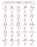De gebaren en stelt lijnpictogrammen #2 Royalty-vrije Stock Afbeelding