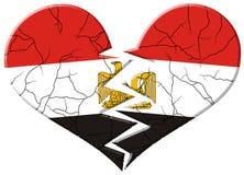 De gebarsten en gebroken vlag van Egypte Stock Foto's