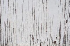 De gebarsten oude achtergrond van de oppervlakte witte geschilderde houten textuur Royalty-vrije Stock Afbeelding