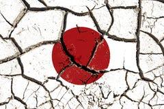 De gebarsten vlag van Japan Stock Afbeeldingen