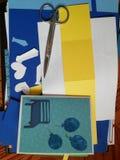 De gebeëindigde groetkaart met maatregelen werd vereist voor het stock afbeelding