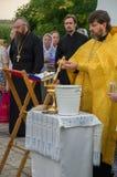 De gebeddienst bij de kerk van St John Evang Stock Foto