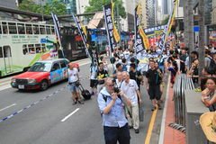 2015 de gebeurtenis van Hong Kong maart van 26ste verjaardag van de Vierkante protesten van Tiananmen van 1989 Stock Fotografie