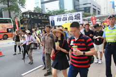 2015 de gebeurtenis van Hong Kong maart van 26ste verjaardag van de Vierkante protesten van Tiananmen van 1989 Royalty-vrije Stock Foto's