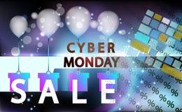De gebeurtenis van de verkoop cyber maandag, technologiebanner Vectorkunst voor uw verkoopbevordering Het toetsenbord voor gaat i royalty-vrije illustratie