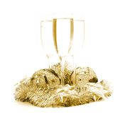 De gebieden en de champagne van het nieuwjaar Stock Afbeeldingen