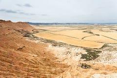 De gebieden van het graangewas in Bardenas Reales, Navarra, Spanje stock foto