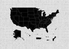 De Gebieden van de V.S. brengen - hoog gedetailleerde Zwarte kaart met provincies/gebieden/staten van de Gebieden van de V.S. in  vector illustratie