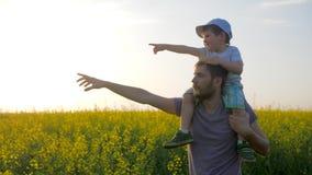 De gebiedsgang van papa en zoon in zonnig weer, mensen met weinig jongen gaat door gebied en richt hand aan horizon, stock videobeelden