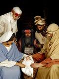 De geboorte van Christus met wisemen Stock Foto