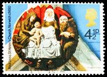 ` De Geboorte van Christus` St Helen ` s Kerk, Norwich, 1480, Kerstmis 1974 - het Kerkdak leidt serie, circa 1974 stock afbeelding