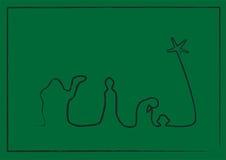 De Geboorte van Christus van de lijn op Groen Royalty-vrije Stock Afbeelding