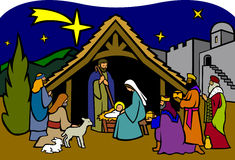 De Geboorte van Christus van Kerstmis/eps vector illustratie