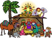 De Geboorte van Christusscène van beeldverhaalkerstmis vector illustratie