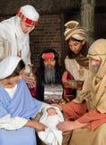 De geboorte van Christusscène met wisemen royalty-vrije stock fotografie