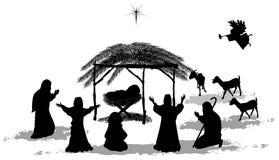 De geboorte van Christusscène van silhouettenkerstmis Stock Afbeeldingen