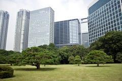 De gebouwen die van het bureau Japanse tuin omringen Stock Foto's