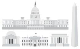 De Gebouwen en de Gedenktekens van het Capitool van het Washington DC vector illustratie