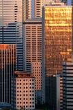 De gebouwen en de zonsondergang denken na Stock Foto's