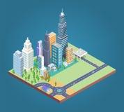 De gebouwen en het District bouwen Vectorillustratie royalty-vrije illustratie