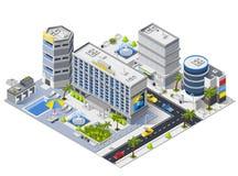 De Gebouwen Isometrische Samenstelling van het luxehotel vector illustratie